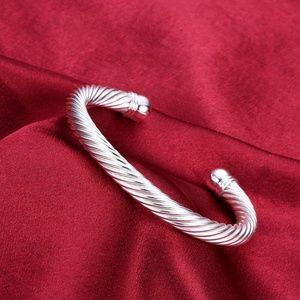 Silver Roman Inspired Twisted Cuff Bangle